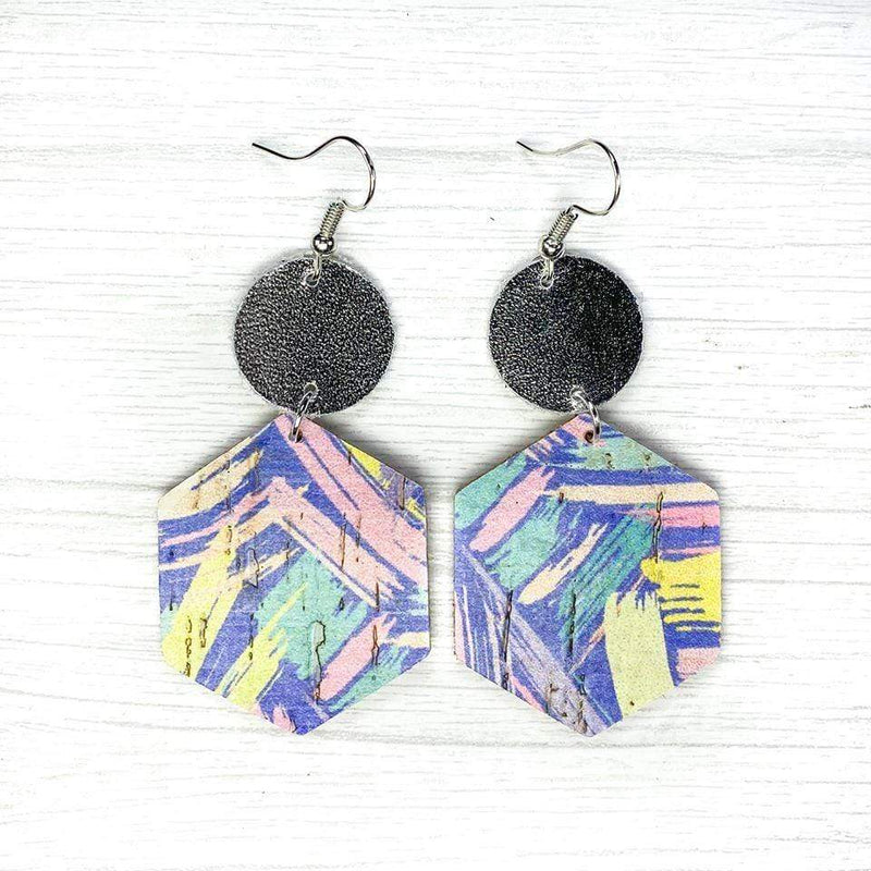 Lavender Paint Strokes Hexagon Earrings vendor-unknown