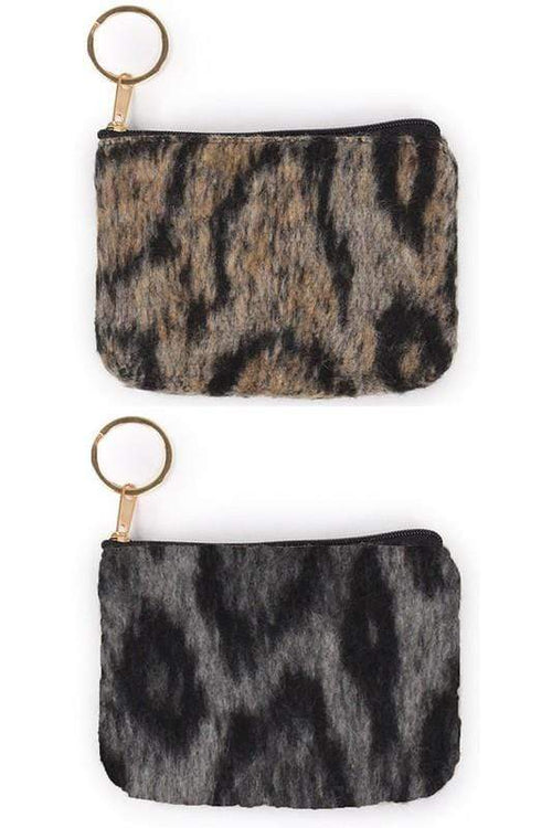 Leopard Print Coin Purse vendor-unknown Grey