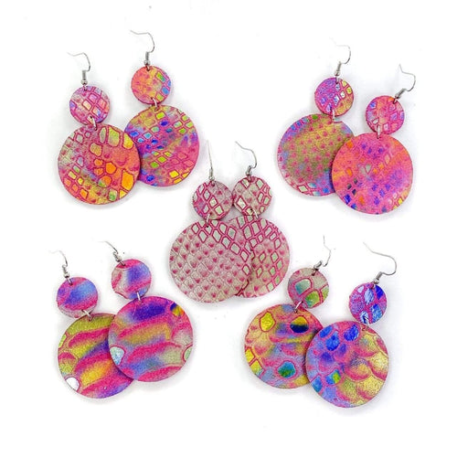 Metallic Tie Dye Snake Print Earrings vendor-unknown