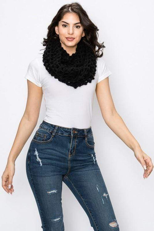 Net Knit Infinity Scarf vendor-unknown Black