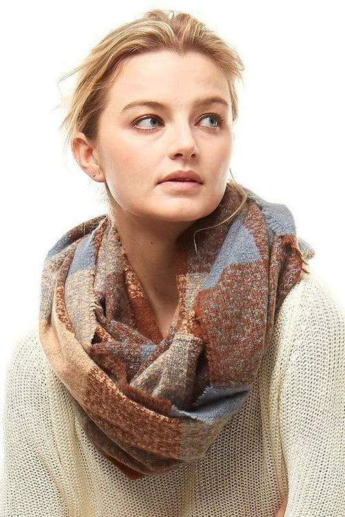 Plaid Boucle Infinity Scarf vendor-unknown Brown