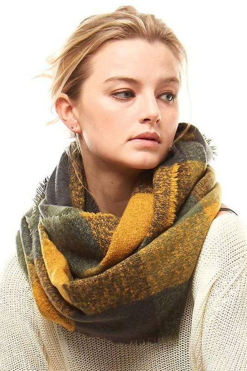 Plaid Boucle Infinity Scarf vendor-unknown Mustard