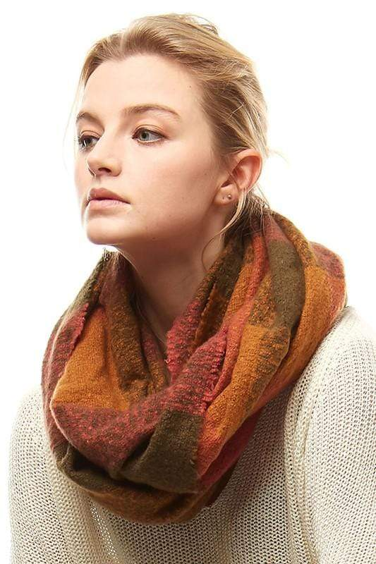 Plaid Boucle Infinity Scarf vendor-unknown Olive