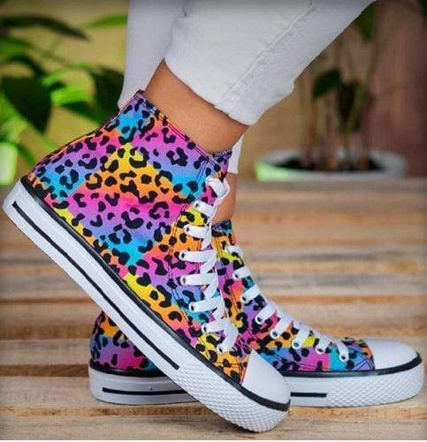 Rainbow Leopard High Top Sneaker vendor-unknown