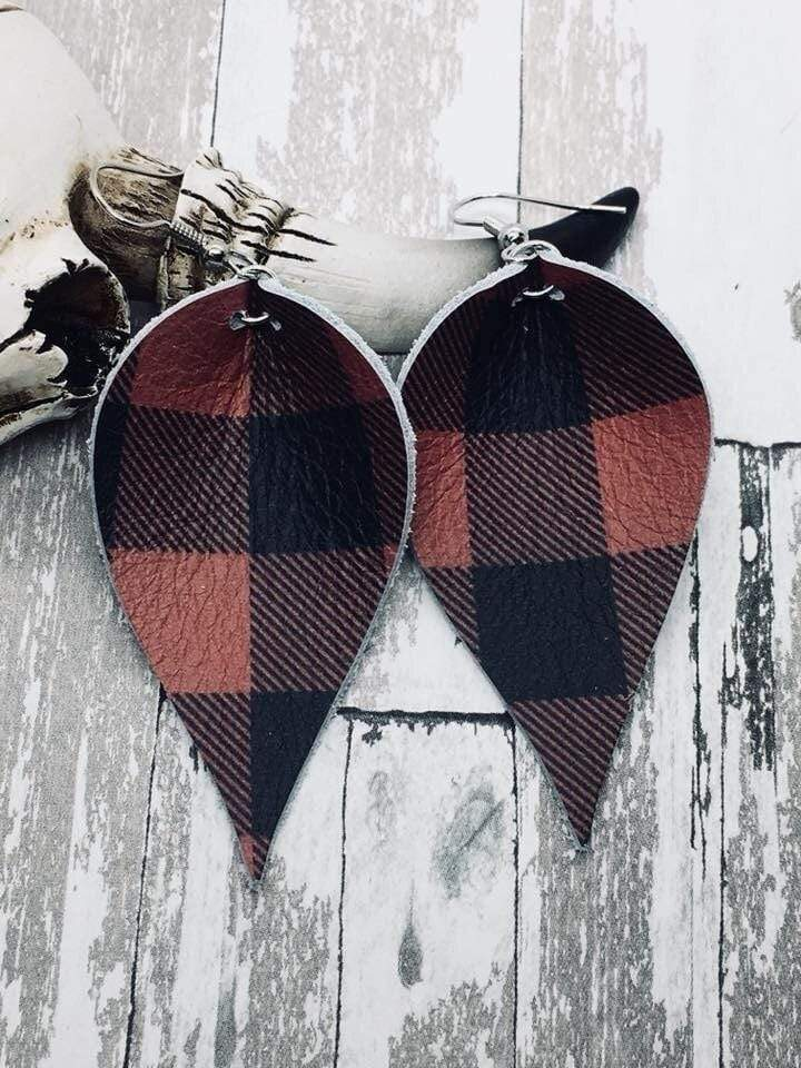 Red Buffalo Plaid Leather Earrings vendor-unknown