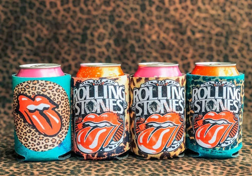 Rolling Stones Can Koozie vendor-unknown Acid Blue Leopard Circle