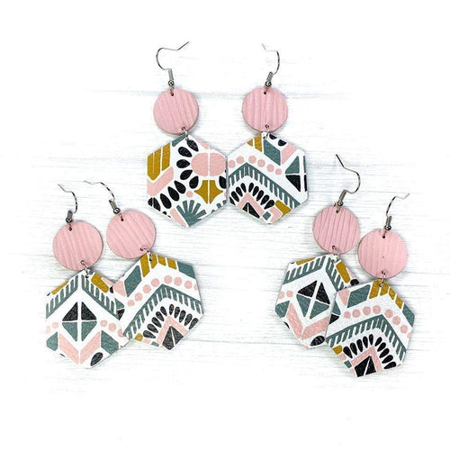 Soft Pink Aztec Hexagon Earrings vendor-unknown