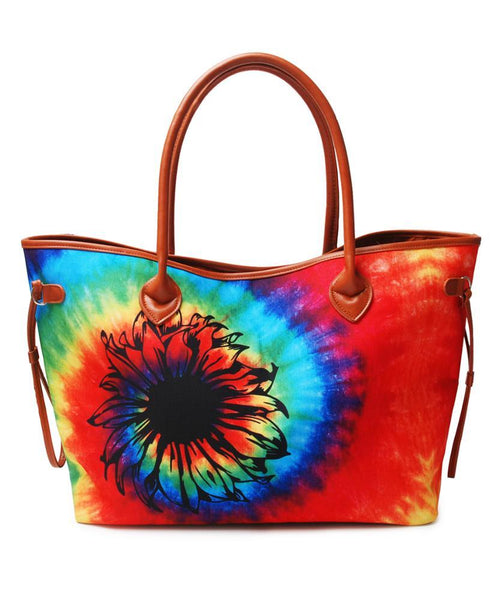 Tie Dye Canvas Tote Bag with Sunflower vendor-unknown Tote Bag
