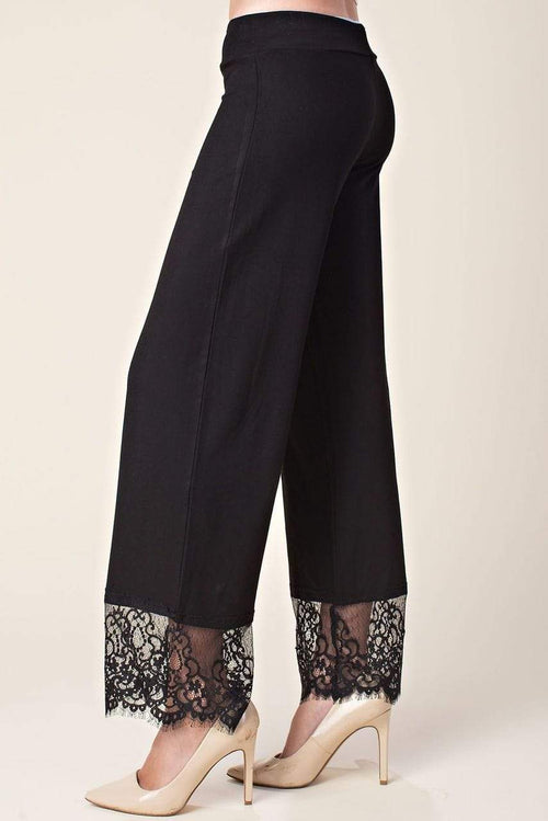 Black Lace Bottom Pull On Pants Vocal Apparel