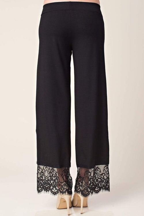 Black Lace Bottom Pull On Pants Vocal Apparel Small