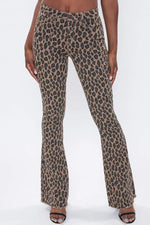 Brown Leopard High Rise Flare Jeans YMI 1/25