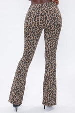 Brown Leopard High Rise Flare Jeans YMI