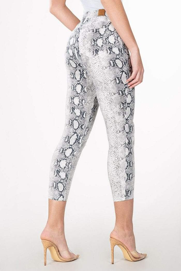Grey Snake Skin Print High-Rise Flood Jeans YMI