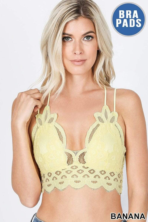 Banana Crochet Lace Bralette Zenana Small