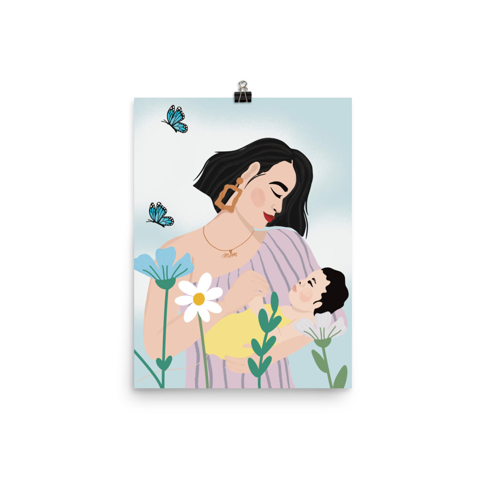 Asian woman with baby & flowers