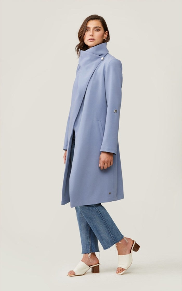 Soia & Kyo Ornella Knee Length Coat With Cascade Collar in Cerulean
