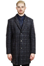 Bugatti Mens Flexcity Check Coat in Blue