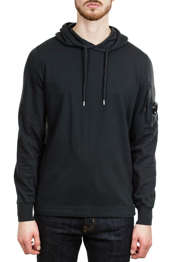 C.P. Company Lens Light Fleece Hooded Sweatshirt in Black