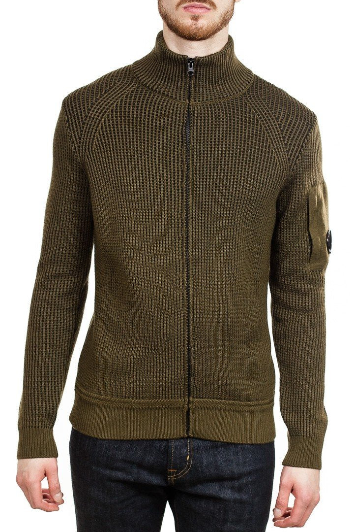 C.P. Company Lens Waffle Knit Zip Cardigan in Moss