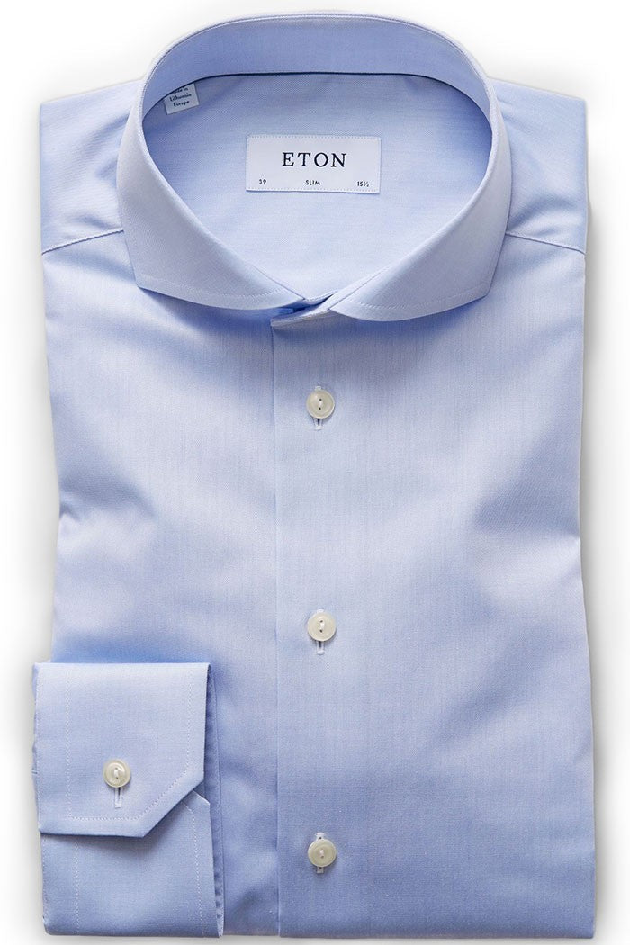 Eton Extreme Cut Away Shirt in Sky Blue