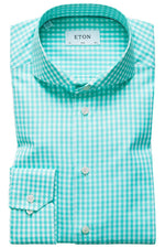 Eton Green Gingham Check Sable Shirt