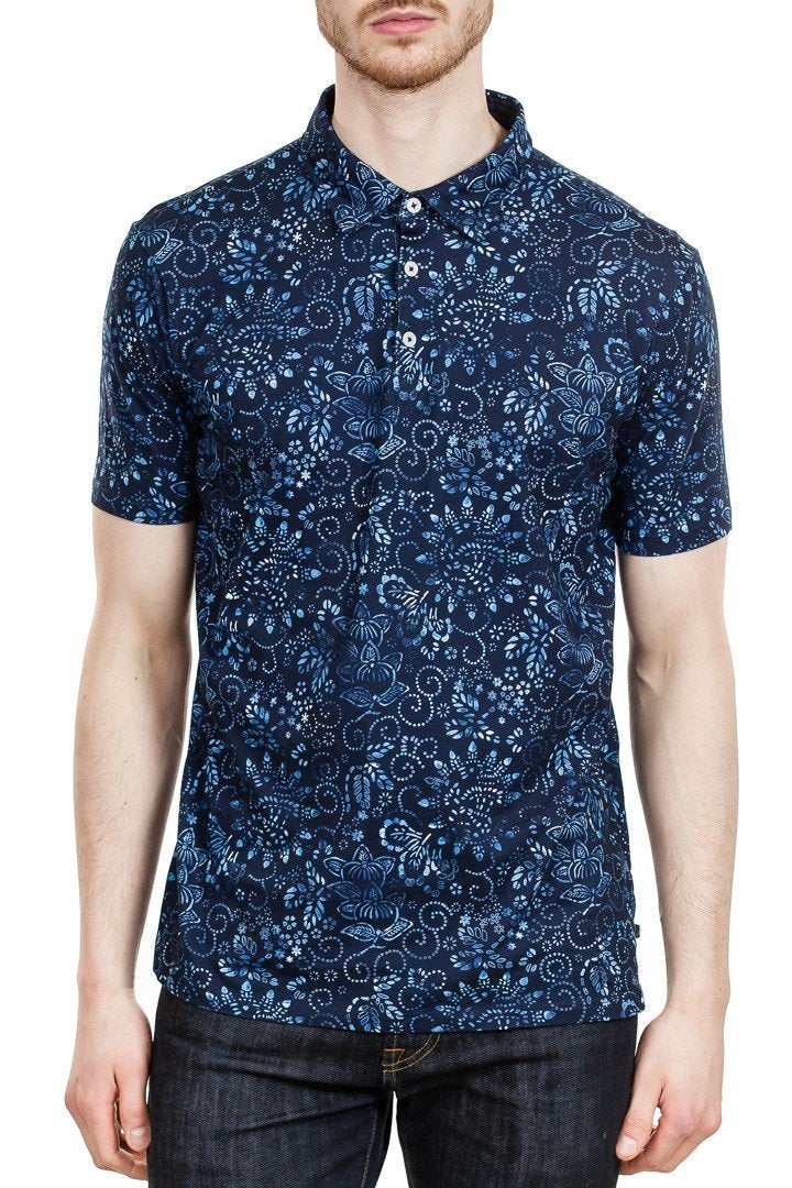 Good Man Brand Micro Print Jersey Polo in Sky Captain