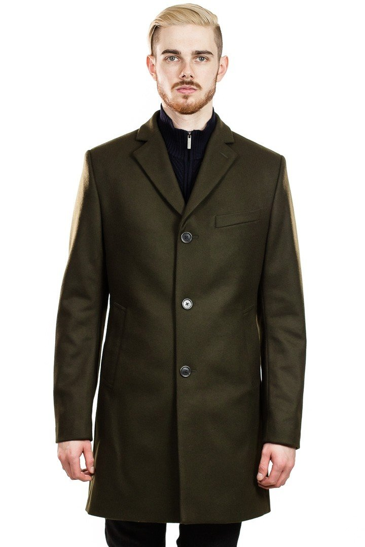 J. Lindeberg Wolger Compact Melton Coat in Dark Green