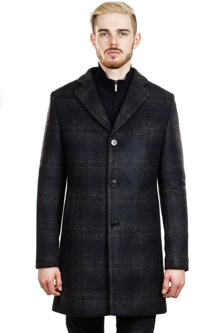 J. Lindeberg Wolger Subtle Check Coat in Black