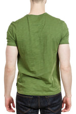 John Varvatos Miles V-Neck Tee in Moss Heather