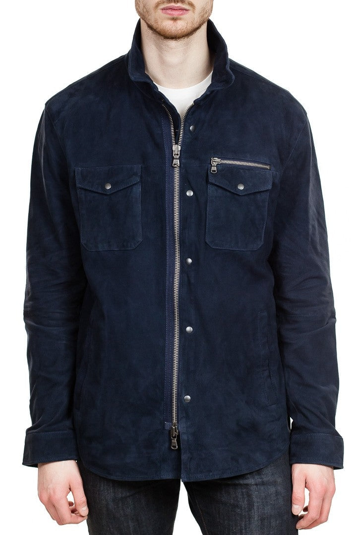 John Varvatos Suede Trucker Jacket in Midnight