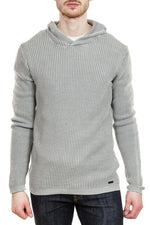 John Varvatos Waffle Knit Hoodie in Reflection Grey