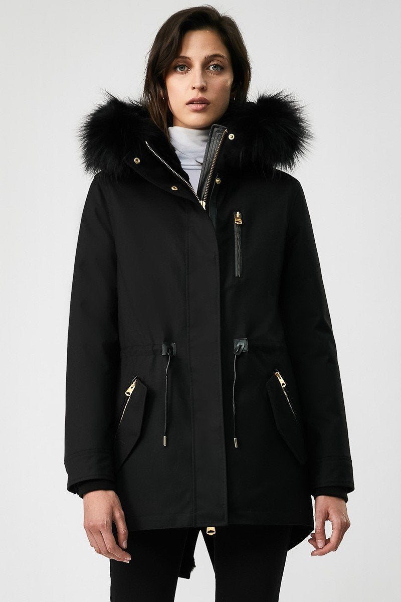 Mackage Chara Ladies Fur Lined Parka in Black With Silver Fox Fur Trim