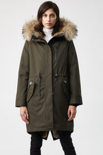 Mackage Rena Ladies Fur Lined Twill Parka in Army