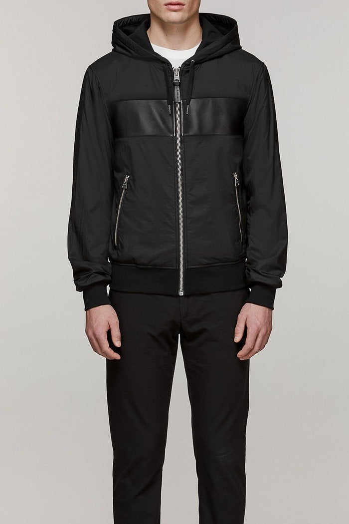 Mackage West Mens Hooded Nylon Windbreaker in Black
