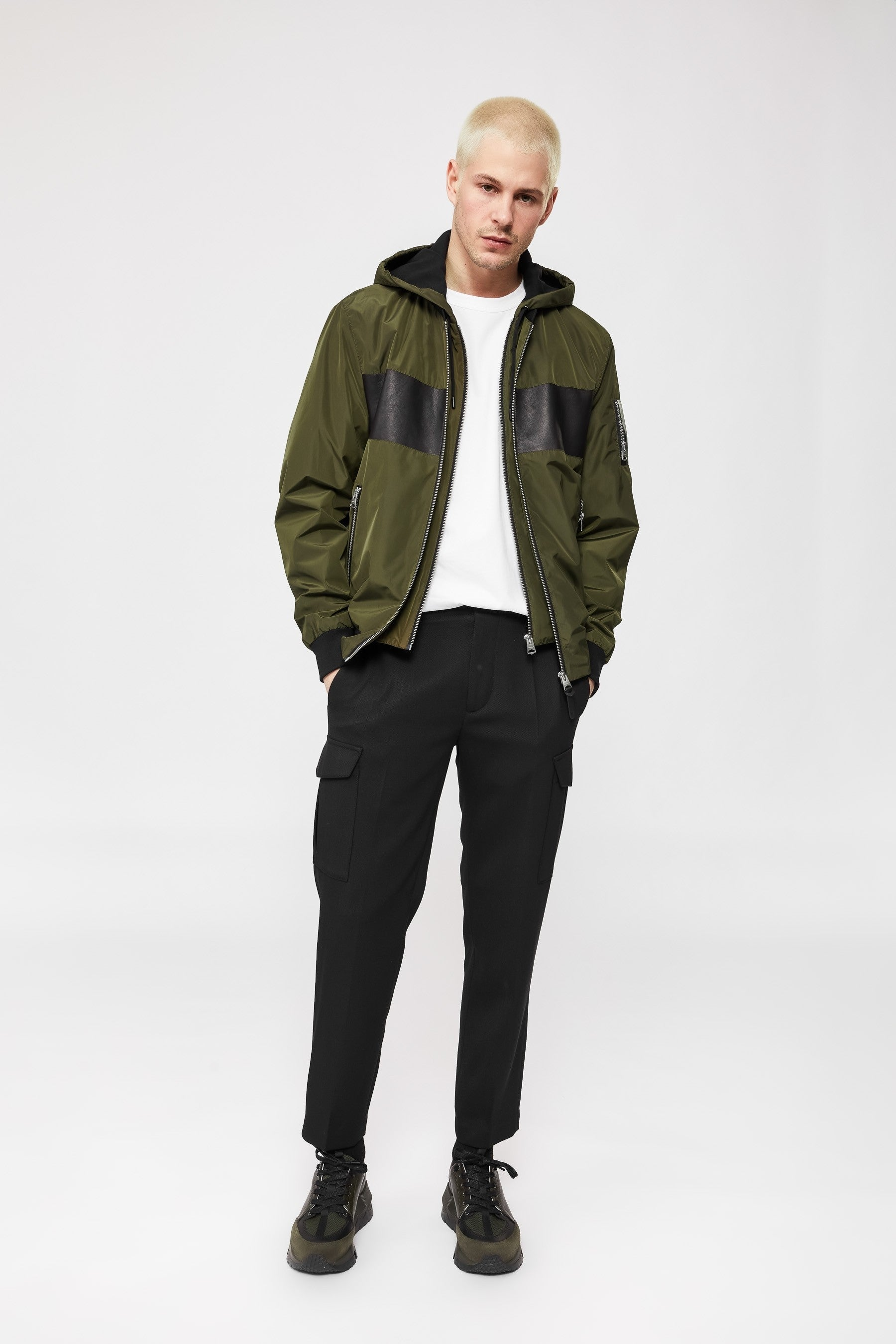 Mackage Weston 2-in-1 Bomber-Style Rain Jacket With Stripe in Army