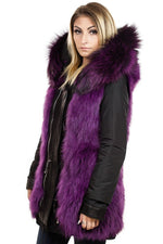 Nicole Benisti Bellville Reversible Parka in Black With Plum Fur