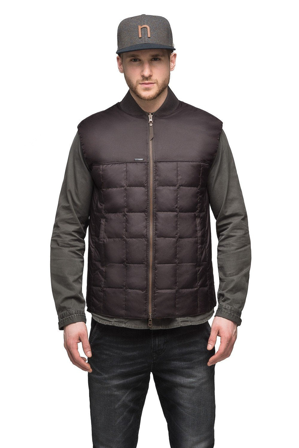 Nobis Paavo Mens Reversible Quilted Vest in Dark Brown / Rust