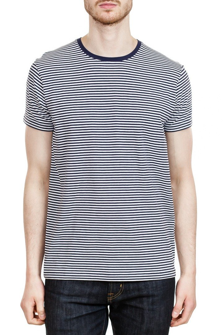 Patrick Assaraf Short Sleeve Stripe Pima Crew in Ink Blue