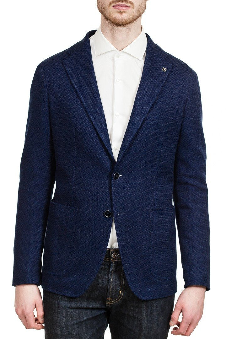 Tagliatore Two-Button Jersey Cotton Blazer in Blue