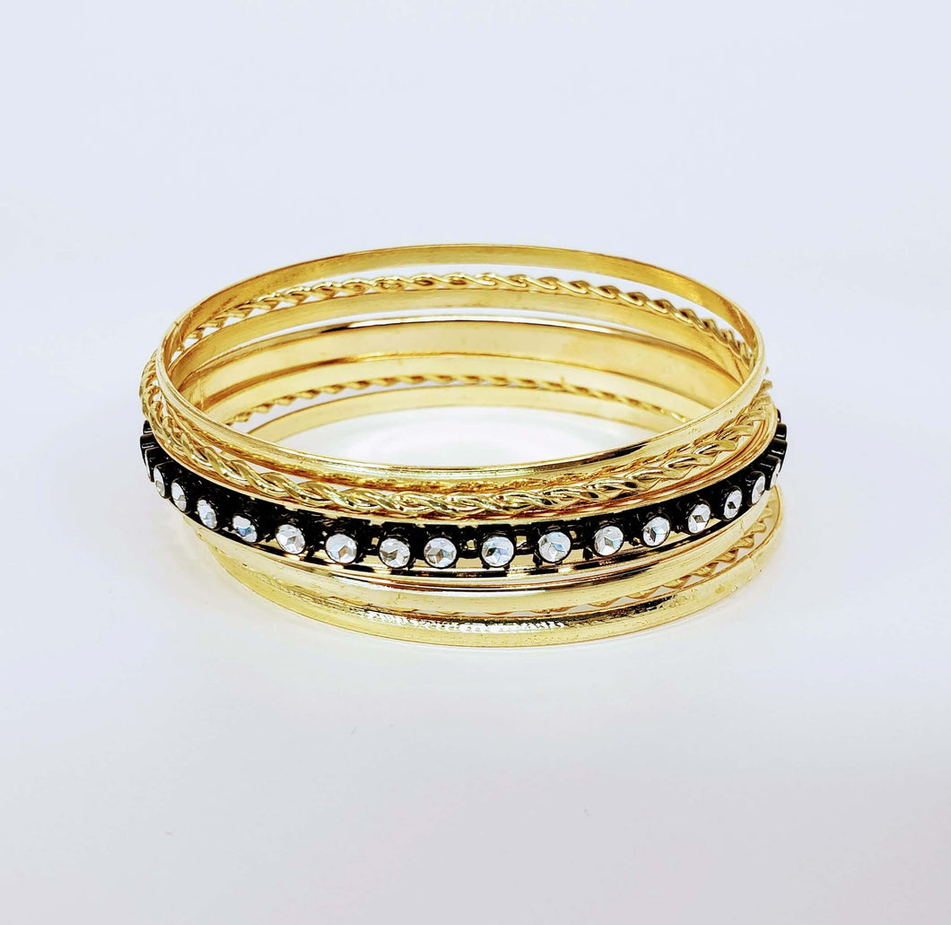 Bracelet Set Bangle Two Tone