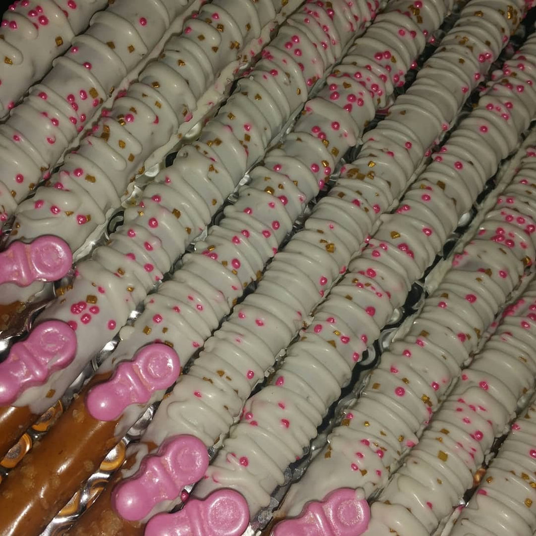 Pretzel Rods - Chocolate Covered/Dipped (Baby Shower)