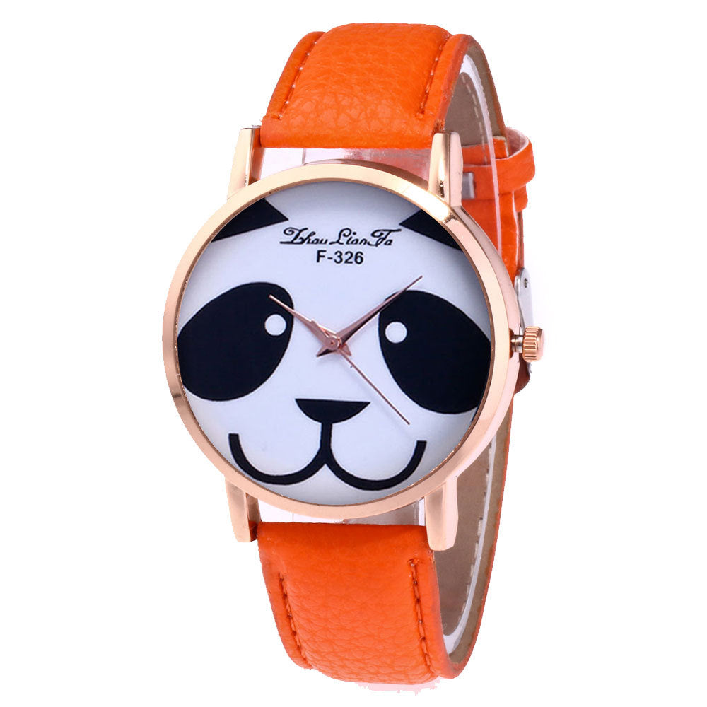 Panda Watch with Leather Strap
