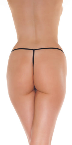 Black belgian lace open G-string Crotchless panty