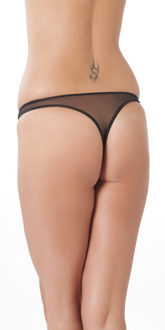 Black low rise G-string with beads