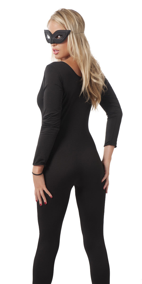 Black catsuit with eye mask