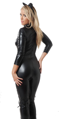 Wetlook Lace Up Catsuit