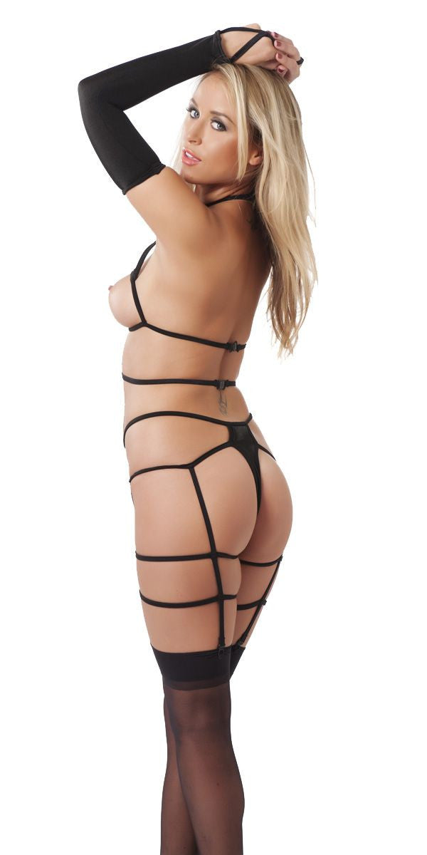 Strappy Bodysuit with Gloves