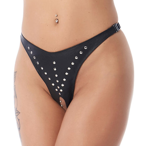 Leather Open Crotch Thong & Bra set with Rivets