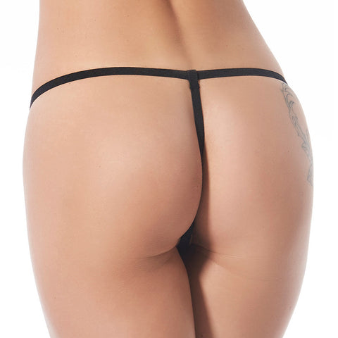 Leather G-String with Front Chain