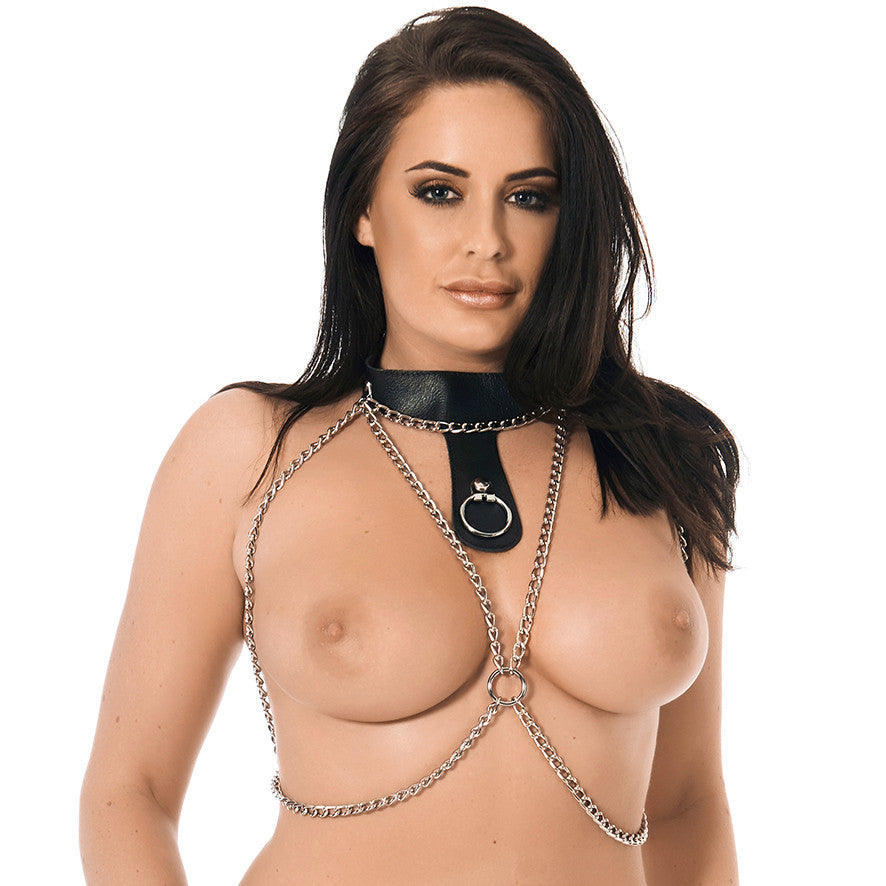 Chain Bra Top with Leather Sub Collar
